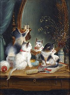 Cats in the Boudoir : Carl Reichert : circa 1918 : Fine Art Giclee Print… I Love Cats, Crazy Cats, Cute Cats, Art Mignon, Image Chat, Gatos Cats, Cat Drawing, Animal Paintings, Cat Art