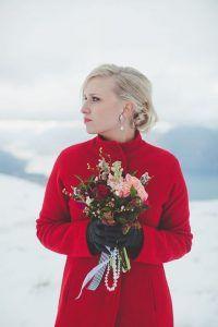 hot red bridal coat