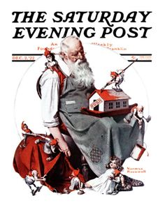 """Santa with Elves"" Saturday Evening Post Cover, December 2,1922 Giclee Print by Norman Rockwell at Art.com"