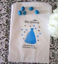 Personalized Paper Favor Goodie Bags - Mis Quince Blue