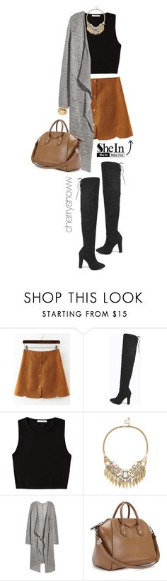 """Over the knee boots, suede skirt and long cardigan fall outfit"" by cherrysnoww ❤ liked on Polyvore featuring Boohoo, Pieces, Sole Society, H&M, Givenchy and Michael Kors"