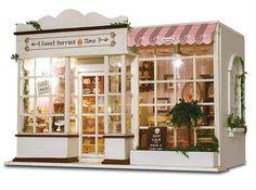 DIY Wooden Time Coffee Shop Miniature Dollhouse 3D LED Mini Dollhouse Kit W T7Q8