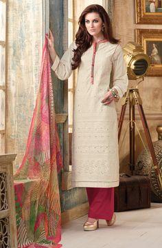 Cream & Red Embroidery with Mirror Work Cotton Salwar Kameez with Printed Chiffon Dupatta - JAS003