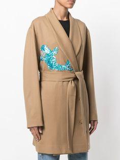 Attico belted wrap coat with sequin appliqué