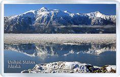 $3.29 - Acrylic Fridge Magnet: United States. Alaska. Mountains And Lake