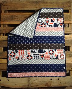 Nautical anchor baby quilt navy grey red by Nooches on Etsy, $75.00