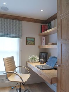 Cool Office Shelf Design Ideas With Beach Style Home Office Decorating Ideas Also Untreated Mounted Desk And Shelves Also Beige Swivel Chair And Modern Windows With Blue Retractable Drape Also For Home Office