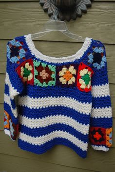 Vintage 60s 70s Handmade Crochet Granny Square Sweater Size Small by MaidenhairVintage, $45.00