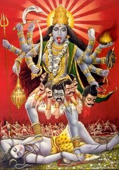 Modern depiction of Kali In her Indian temples, Kali is worshiped daily from predawn until evening darkness. Description from astromuni.blogspot.com. I searched for this on bing.com/images