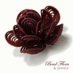 Royal Crimson beaded flower hair clip - what a color.. Gorgeous !