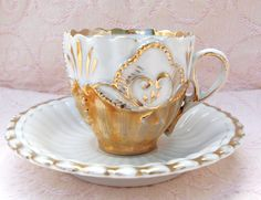 Handpainted Vintage White with Gold Demitasse Teacup - Made in Germany