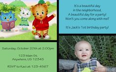 Daniel Tiger's Neighborhood Birthday Party Invitations with Picture- invite idea