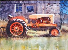Watercolor Giclee P Antique Tractors, Old Tractors, Antique Cars, Vintage Trucks, Old Trucks, Tractor Drawing, Silhouettes, Allis Chalmers Tractors, Farm Paintings