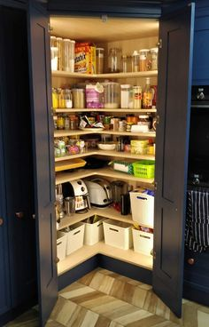 Bespoke walk in Pantry hand painted - we offer a completely bespoke Kitchens in any size & any colour! Kitchen Pantry Design, Modern Kitchen Design, Home Decor Kitchen, Interior Design Kitchen, Kitchen With Corner Pantry, Kitchen Storage, Kitchen Layout Plans, Pantry Shelving, Modern Kitchen Cabinets