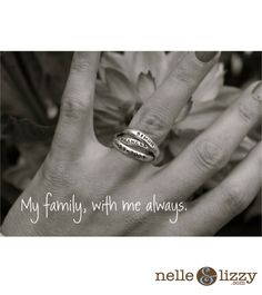 Nelle and Lizzy name ring with three interconnecting bands creates a one-of-a-kind stamped piece of jewelry. Design your name ring with three names, dates or words...be creative!