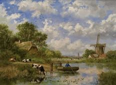 Medieval Life, Cute Cows, Dutch Painters, Landscape Paintings, Landscapes, Paintings I Love, Land Art, Windmill, Countryside
