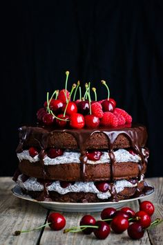 """BLACK FOREST"" NAKED CAKE with POPPY SEED MASCARPONE CREAM CHEESE FILLING, CHERRIES, RASPBERRIES & CHOCOLATE DRIZZLE [thestoryofacake]"