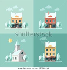 Winter houses - vector illustration in flat design style.