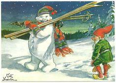 Swedish Curt Nystrom Art Postcard Gnome