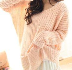珊瑚粉毛衣!!  oversized pink wool jumper