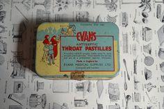Old medicine Tin Box Evans Antiseptic Throat by AuralesArtifacts, £5.00