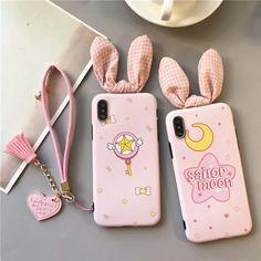 "Kawaii Cartoon Bunny Ear Iphone Case SE11191 Use coupon code ""cutekawaii "" for 10% off #pink #pastel #bunny #sailormoon #anime #iphone #iphonecase #moon"