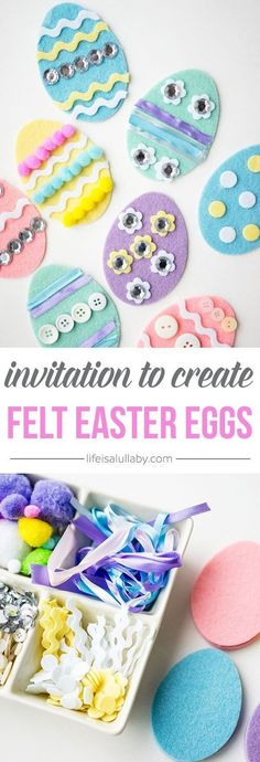 A fun craft activity for Easter! Make different colors, designs and patterns of felt Easter Eggs! #feltcrafts