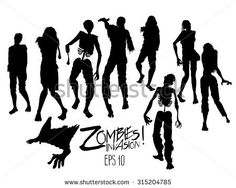 Zombies invasion. Zombie silhouettes walking forward. Halloween design elements isolated on white background
