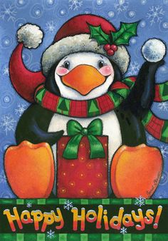 Happy Penguin by Janet Stever ~ Christmas ~ Happy Holidays
