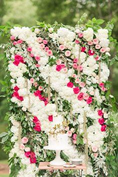 Gorgeous floral backdrop: http://www.stylemepretty.com/vault/gallery/38313 | Photography: Katelyn James - http://katelynjames.com/: