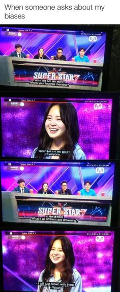 They asked her about shinee. Lol, girl, same