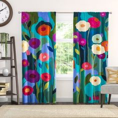 Red Barrel Studio Oneill Carrie Schmitt's Window Good Morning Sunshine Flowers Room Darkening Curtain Panels Size: W x L Bright Curtains, Modern Curtains, Colorful Curtains, Drapes Curtains, Curtain Panels, Patterned Curtains, Wallpaper Roll, Peel And Stick Wallpaper, Floral Room