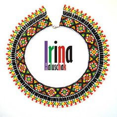 seed bead collar, necklace, art, craft, beadwork, Ukraine, DIY, white, yellow, green, orange, red, http://irina-haluschak.blogspot.com/