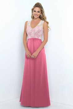 Alexia Designs style 4190: Bella Chiffon bridesmaid dress with lace bodice & slim waistband. Also available short as style 190S