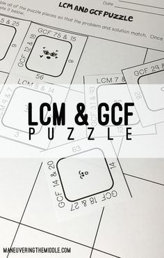 LCM and GCF Puzzle - a great activity for math centers to have students practice finding the LCM and GCF. | maneuveringthemiddle.com