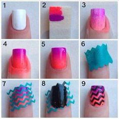 Uñas decoradas con zigzag de colores - http://xn--decorandouas-jhb.com/unas-decoradas-con-zigzag-de-colores/