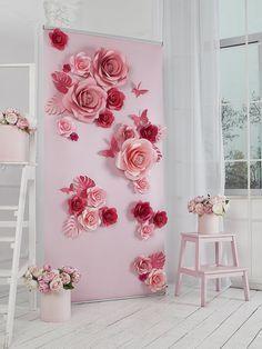 Fleurs - fleurs en papier décor - décor mariage - papier fleur de mur - fleur en papier