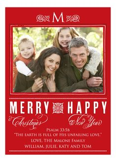 Merry And Happy Red Christmas Photo Card