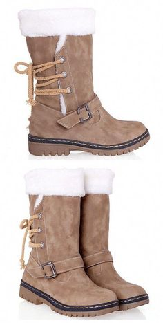 Vintage Suede and Buckle Design Snow Boots For Women  winterboots cdb1bbe1bb240