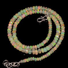 """47CRTS 3.5to5MM 18"""" ETHIOPIAN OPAL FACETED RONDELLE BEADS NECKLACE OBI2137 #OPALBEADSINDIA"""