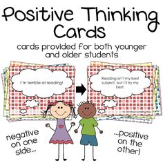 Help kids learn to change negative thoughts into positive thoughts! This download contains 2 separate decks – a version for older students and a version for younger students – as well as an ink-friendly version.