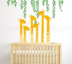 Giraffe Wall Decal, Jungle Wall Decal, Giraffe Decal with Vines for Baby Nursery, Kids, Children's Room 082