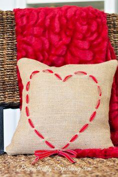 Burlap and Ribbon Heart Pillow 1
