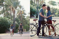 Tempe Arizona Engagement Session. Bikes. Palm trees.