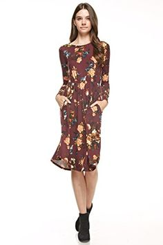 Reborn Js Floral Midi Dress Small Wine ** You can find more details by visiting the image link.