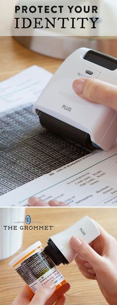 Quick and easy ID protection. These rollers and stamps block out personal information on bills, checks, mail, and other documents—and even prescription bottles. Better than a paper shredder at identity protection.