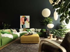 Living room ideas, contemporary design, dark wall, green sofa, or more ideas and inspirations:http://www.bocadolobo.com/en/inspiration-and-ideas/