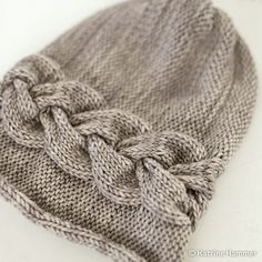 Sideways Braid Beanie pattern by Katrine Hammer | malabrigo Arroyo in Sand Bank