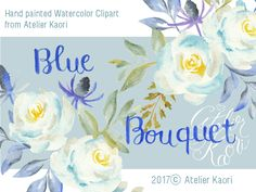 This soft color blue bouquet clipart for very nice for wedding invitation, save the date. It's my first white rose clipart. Rose Clipart, Blue Bouquet, Soft Colors, White Roses, Textile Design, Save The Date, Spoonflower, Watercolor Art, Diy Ideas