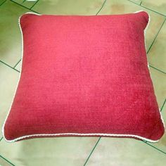 Red Linen Floor Cushion, lovely thick linen with heavy cream roped corded edges great to chuck on the patio for extra seating. Made as a size of 24 inches square Large Floor Cushions, Red Cushions, Extra Seating, Patio, Throw Pillows, Flooring, Cream, Fabric, Red Pillows